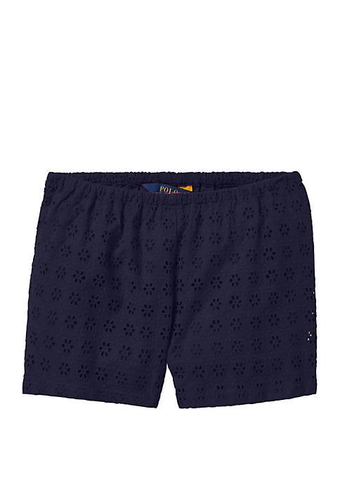 Ralph Lauren Childrenswear Girls 7-16 Eyelet Cotton Shorts