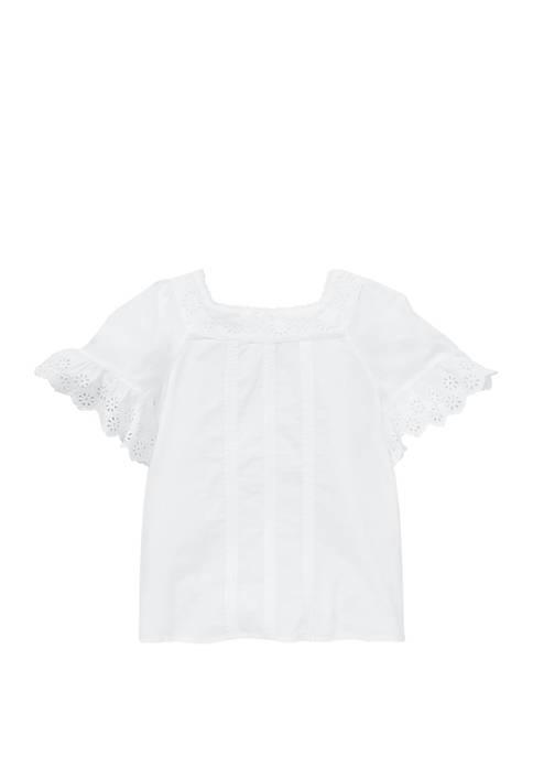 Ralph Lauren Childrenswear Girls 7-16 Cotton Flutter Sleeve
