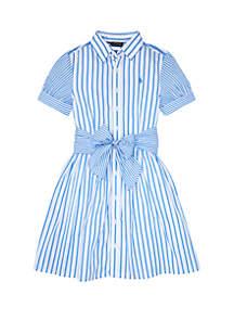 Ralph Lauren Childrenswear Girls 7-16 Striped Cotton Shirtdress