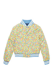 Ralph Lauren Childrenswear Girls 7-16 Floral Baseball Jacket