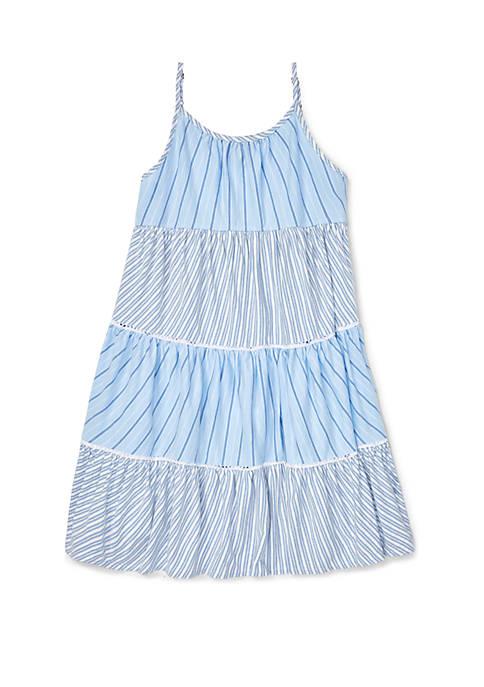 Ralph Lauren Childrenswear Girls 7-16 Tiered Striped Cotton