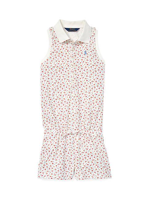 Ralph Lauren Childrenswear Girls 7-16 Floral Mesh Polo