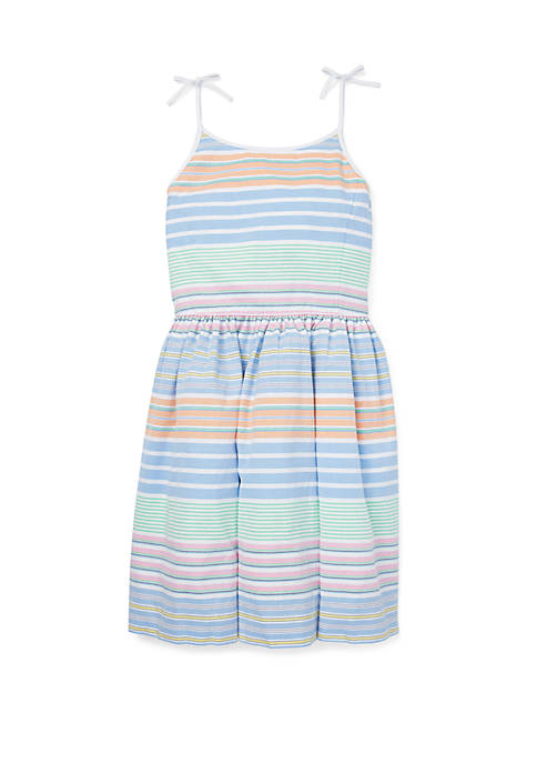 Girls 7-16 Striped Cotton Oxford Dress