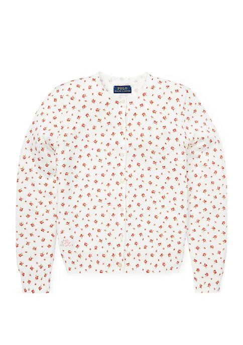 Girls 7-16 Floral Cotton Cardigan