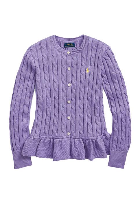 Ralph Lauren Childrenswear Girls 7-16 Cotton Peplum Cardigan