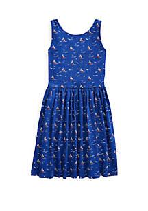 Ralph Lauren Childrenswear Girls 7-16 Sailboat Cotton Jersey Dress
