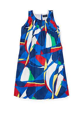 413f69525 Ralph Lauren Childrenswear Girls 7-16 Sailboat Pleated Satin Dress ...