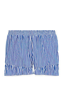 Ralph Lauren Childrenswear Girls 7-16 Striped Ruffled Cotton Shorts