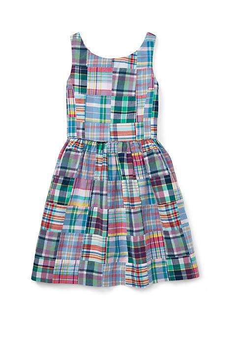 Girls 7-16 Patchwork Cotton Madras Dress