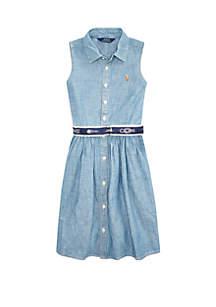 Ralph Lauren Childrenswear Girls 7-16 Belted Chambray Shirtdress