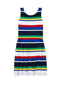 Ralph Lauren Childrenswear Girls 7-16 Striped Cotton Jersey Dress