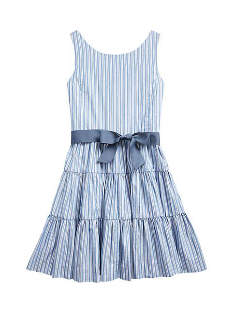 Girls 7-16 Striped Tiered Cotton Dobby Dress