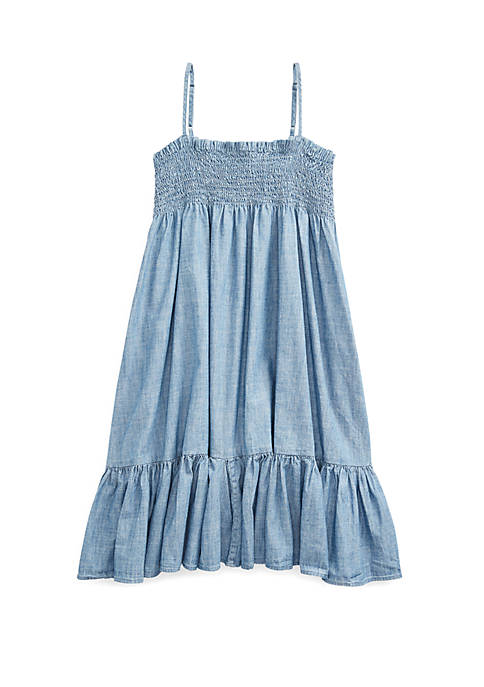 Ralph Lauren Childrenswear Girls 7-16 Cotton Chambray Dress
