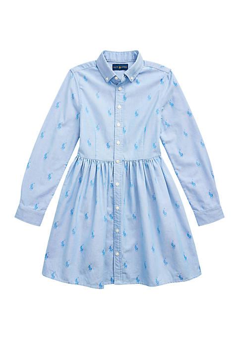 Ralph Lauren Childrenswear Girls 7-16 Pony Cotton Shirtdress