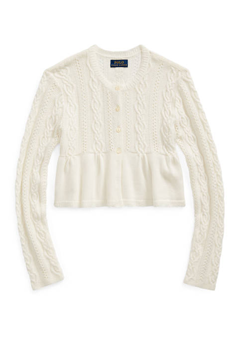 Girls 7-16 Cable Cotton-Blend Cardigan