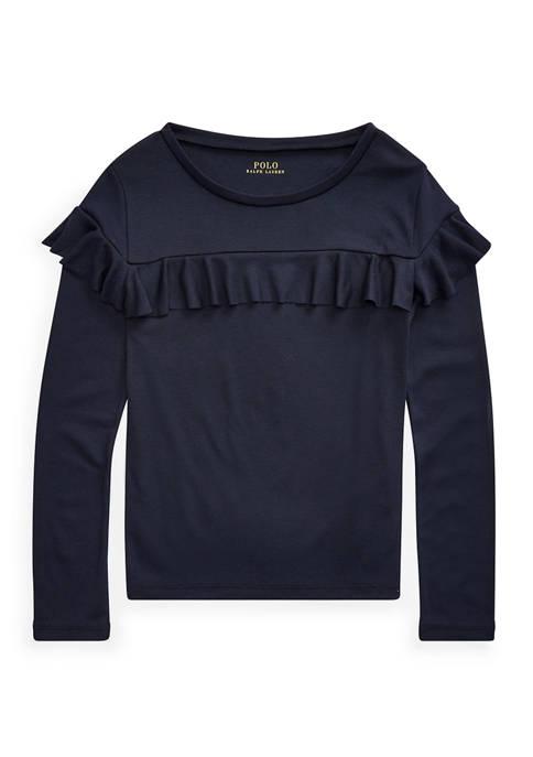 Girls 7-16 Ruffled Cotton-Modal Top