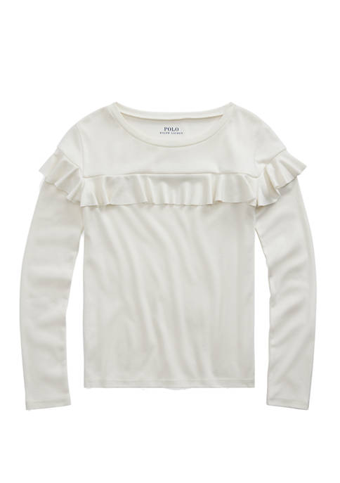 Girls 7-16 Ruffled Cotton-Modal Top