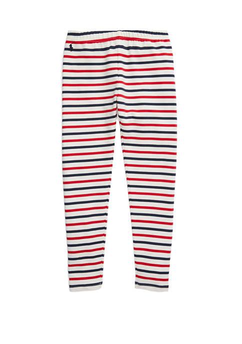 Girls 7-16 Striped Stretch Cotton Jersey Leggings