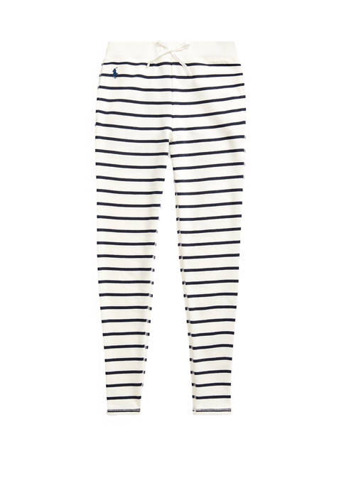 Girls 7-16 Striped Cotton-Blend-Terry Pant