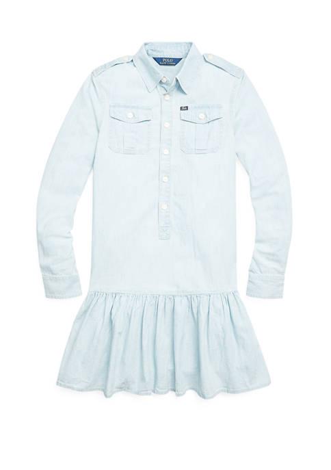 Ralph Lauren Childrenswear Girls 7-16 Cotton Chambray Dress