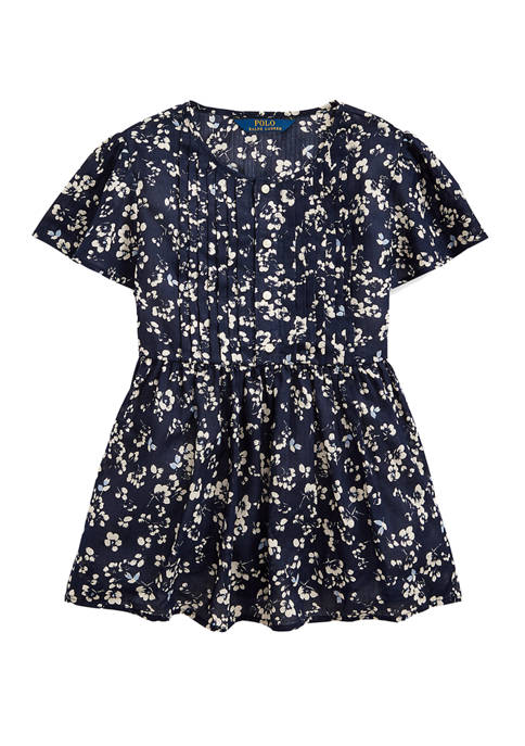 Girls 7-16 Floral Cotton Dobby Top