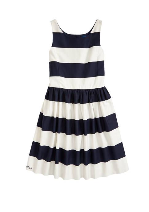 Girls 7-16 Striped Cotton Sateen Dress