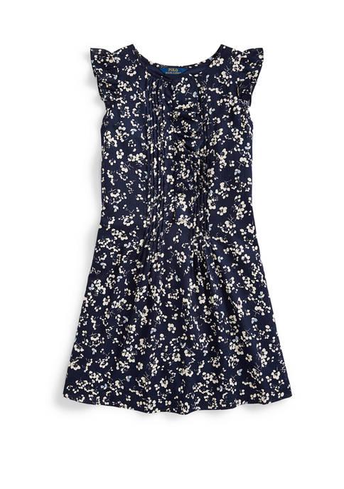 Girls 7-16 Floral Cotton Dobby Dress