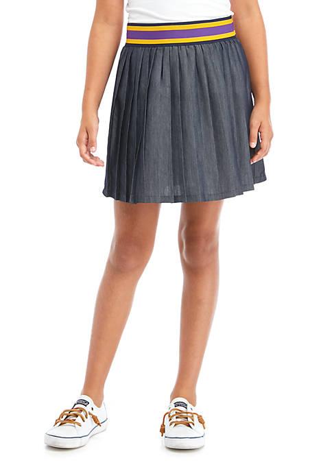 Girls 7-16 Pleated Cotton-Blend-Twill Skirt