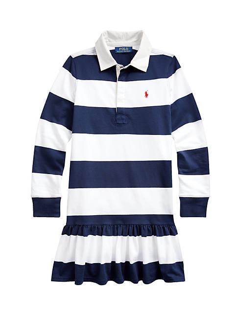 Ralph Lauren Childrenswear Girls 7-16 Striped Cotton Rugby