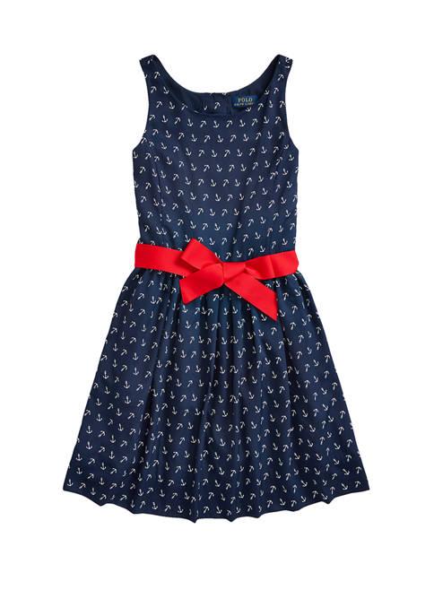 Ralph Lauren Childrenswear Girls 7-16 Anchor-Print Twill Dress