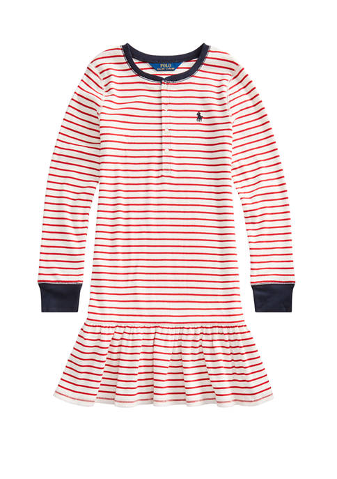 Girls 7-16 Striped Ribbed Cotton Henley Dress