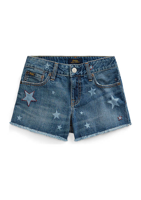 Girls 7-16 Star Cotton Denim Shorts