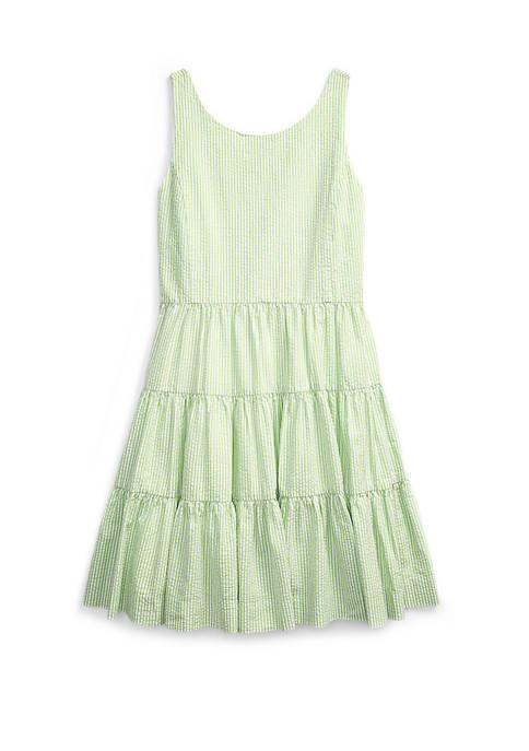Girls 7-16 Tiered Cotton Seersucker Dress
