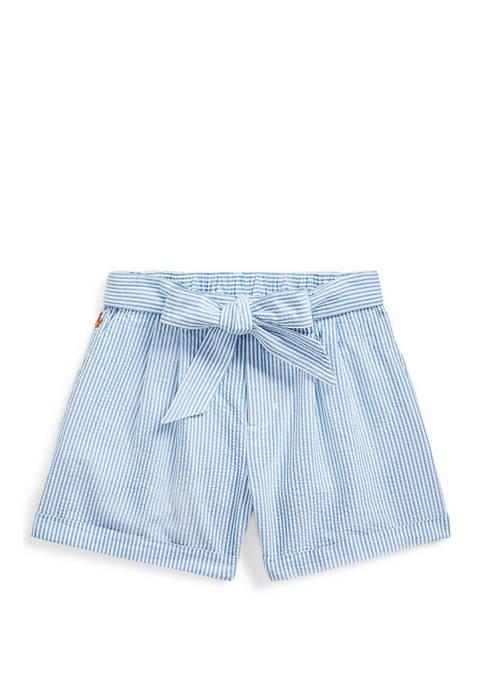 Ralph Lauren Childrenswear Girls 7-16 Belted Cotton Seersucker