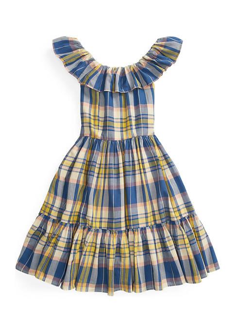 Ralph Lauren Childrenswear Girls 7-16 Plaid Cotton Madras