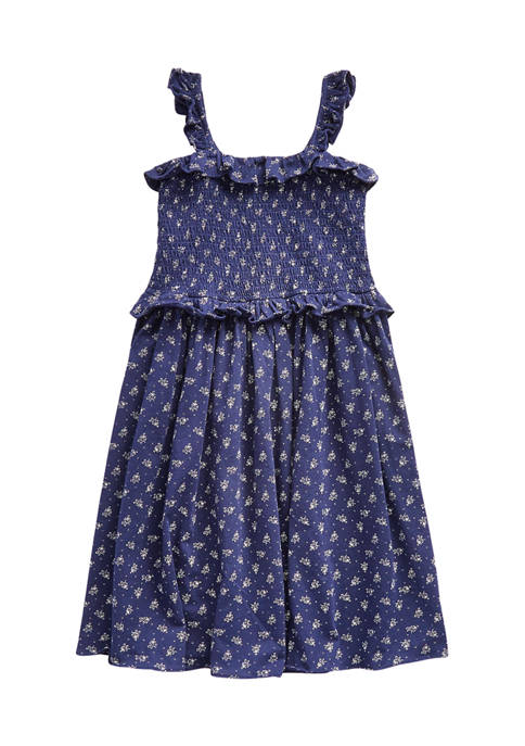 Ralph Lauren Childrenswear Girls 7-16 Floral Smocked Cotton