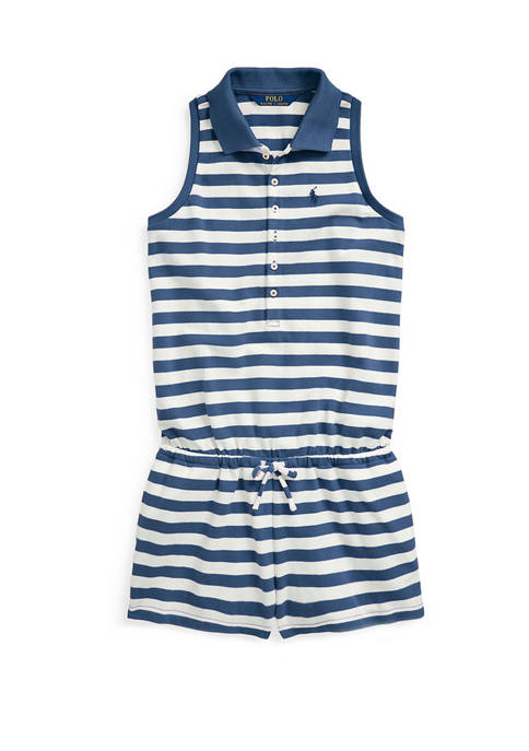 Ralph Lauren Childrenswear Girls 7-16 Striped Mesh Polo