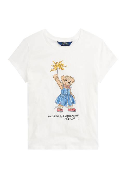 Ralph Lauren Childrenswear Girls 7-16 Sparkler Bear Cotton