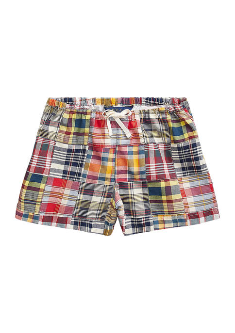 Girls 7-16 Patchwork Cotton Madras Shorts