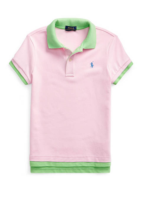Girls 7-16 Layered Stretch Mesh Polo