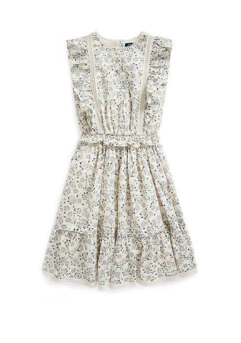 Girls 7-16 Floral Cotton Poplin Dress