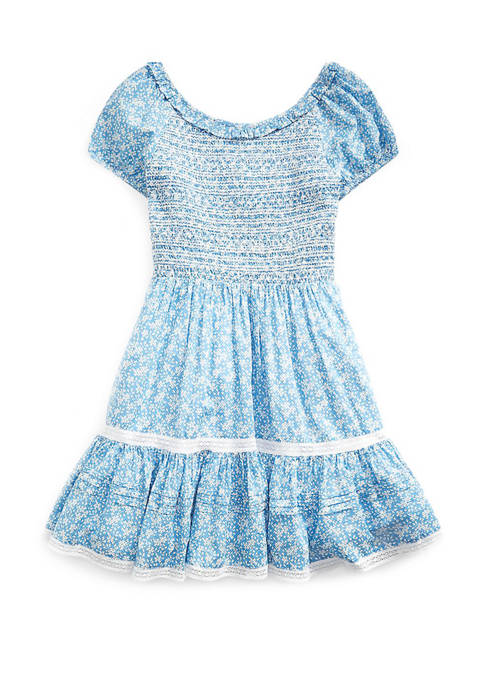 Girls 7-16 Smocked Floral Cotton Dress