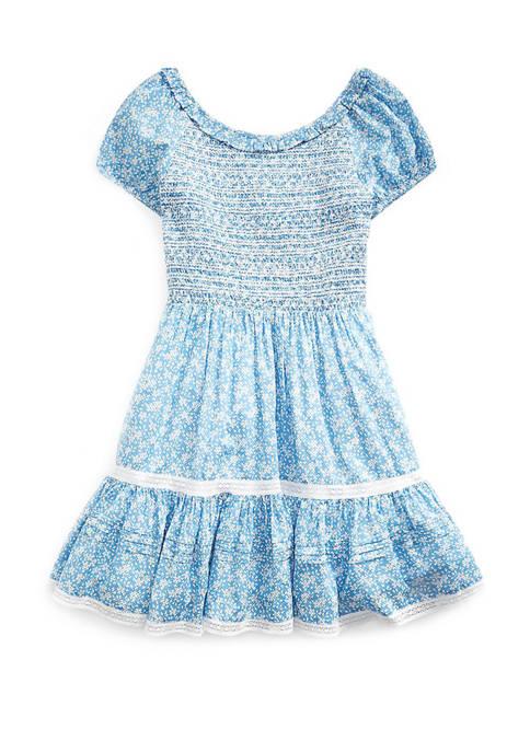 Ralph Lauren Childrenswear Girls 7-16 Smocked Floral Cotton