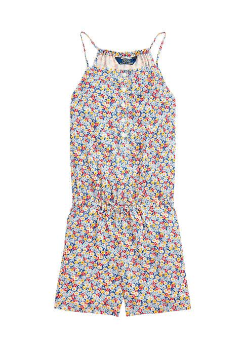 Ralph Lauren Childrenswear Girls 7-16 Floral Poplin Romper