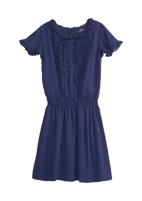 Ralph Lauren Childrenswear Girls 7-16 Ruffled Crepe Dress