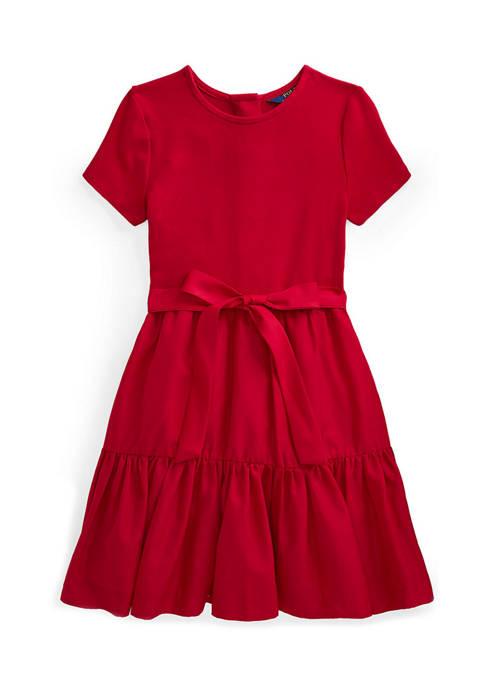 Ralph Lauren Childrenswear Girls 7-16 Tiered Stretch Interlock
