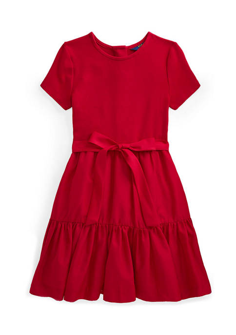 Girls 7-16 Tiered Stretch Interlock Dress