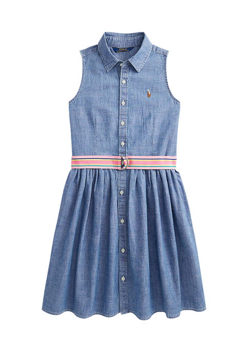 Ralph Lauren Childrenswear Girls 7-16 Indigo Cotton Chambray