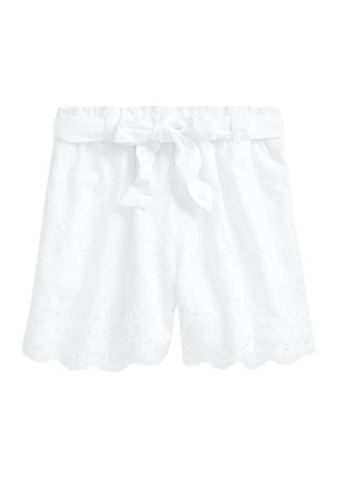 Ralph Lauren Childrenswear Girls 7-16 Belted Eyelet Cotton