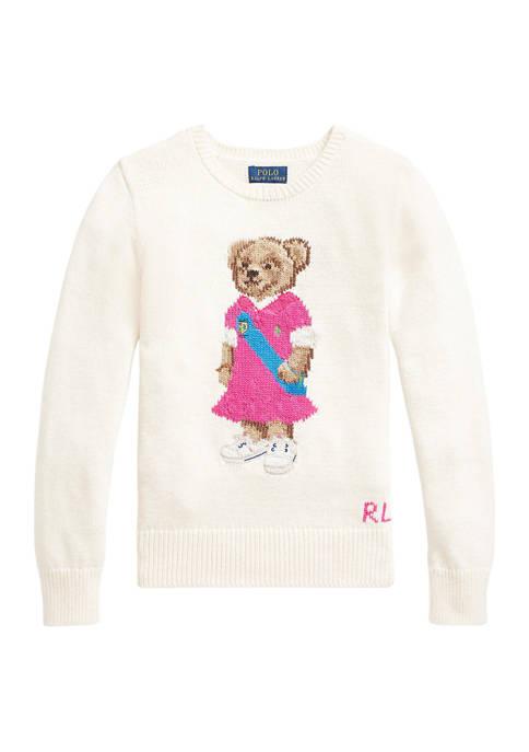 Girls 7-16 Polo Bear Cotton Sweater